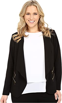Calvin Klein Plus - Plus Size 2 Zipper Jacket w/ Fly Away