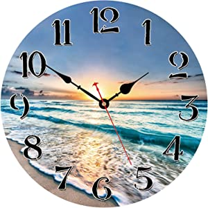 WISKALON Home Wall Clock, 14 Inch Wooden Clock, Silent Non-Ticking Hanging Clocks for Living Room Bedroom Office Kitchen Home Decor, Battery Operated Easy to Read Wall Clocks (Beach and Sunset)