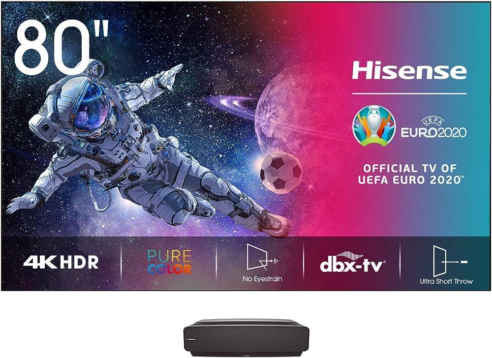 Hisense laser tv 80 pollici con schermo, risoluzione 4k, hdr10, smart tv vidaa 2.0, 1850 lumen, bluetooth H80LSA