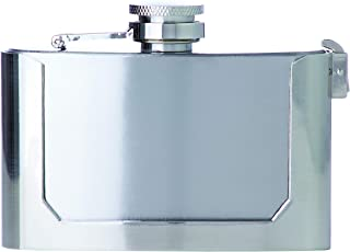 Maxam 3oz Belt Buckle Stainless Steel Flask, Lightweight Drinking Flask with a Screw-On, Leak Proof Lid, Polished Silver, 3 Ounce Capacity