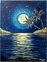 Hand painted Full moon painting, at night sky with sea view reflecting the moon light size 40×30cm blue colors