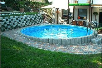 konifera Juego completo (9piezas): empotrable redondo de piscina con acero inoxidable de tiefbec Ken Escalera (en 6tamaños) 550cm, 120cm