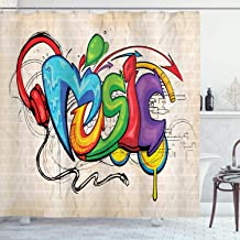 Ambesonne Music Shower Curtain, Illustration of Graffiti Style Lettering Headphones Hip Hop Theme on Beige Bricks, Cloth Fabric Bathroom Decor Set with Hooks, 70