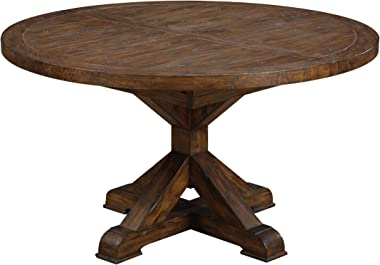 Emerald Home Chambers Creek Brown Round Dining Table with Extension Leaf And Farmhouse Trestle Base