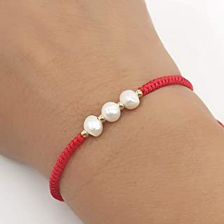 Dainty Cultured Freshwater Pearl Red String Bracelet For Woman