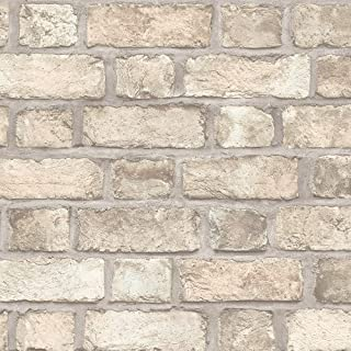Norwall FH37516 Farmhouse Brick Prepasted Wallpaper, Green, Orange, Brown, Pale Coral, Mint