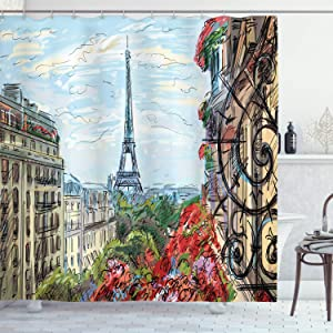 Ambesonne Paris Shower Curtain, Pastel Sketch of a Street in European Town Traffic in Downtown Urban Life Monument Trees Scenery, Cloth Fabric Bathroom Decor Set with Hooks, 75