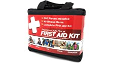 M2 BASICS 300 Piece (40 Unique Items) First Aid Kit w/Bag | Free First Aid Guide | Emergency Medical Supply | for Home, Office, Outdoors, Car, Camping, Travel, Survival, Workplace