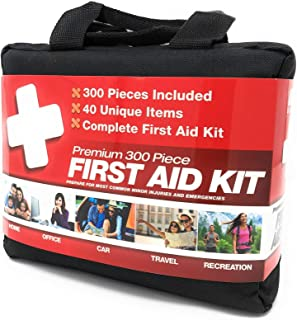 M2 BASICS 300 Piece (40 Unique Items) First Aid Kit w/Bag   Free First Aid Guide   Emergency Medical Supply   for Home, Office, Outdoors, Car, Camping, Travel, Survival, Workplace