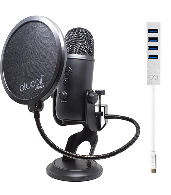 Blue Microphones Yeti USB Mic for Pro Studio Recording (Blackout) Bundle with Blucoil USB C-Type Mini Hub with 4 USB Ports and Pop Filter Windscreen