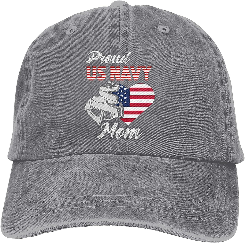 QNCNWI Proud Us Navy Mom Hat Adjustable Baseball Hat Unisex Washable Cap Trucker Cap Gray