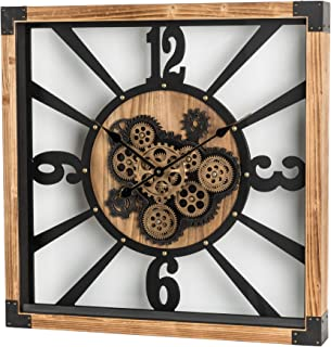 """Glitzhome 27.1"""" D Large Decorative Wall Clock with Numerals, Wooden/Metal Vintage Industrial Oversized Rustic Battery Oper..."""