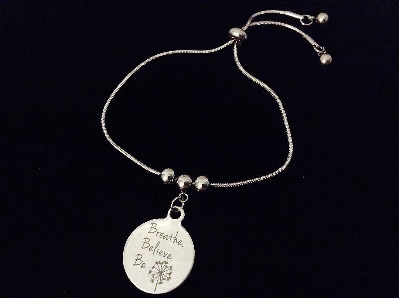 Breathe Believe Be Adjustable Bolo Bracelet Stainless Steel Adjustable Bracelet Slider Charm Bracelet Dandelion Gift One Size Fits All