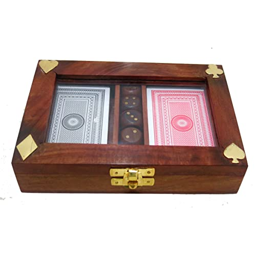 Ages Behind Set of 2 Playing Cards Box with 5 Dices in Wooden Carry Box with Size- L-7.5'' W-4.5'' Ht-1.5''