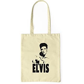 LaMAGLIERIA Bolsa de Tela Elvis Rock Icon - Tote Bag Shopping Bag ...
