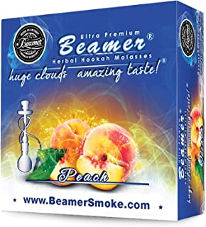 Peach Beamer Herbal Hookah Shisha Molasses 50g. Huge Clouds, Amazing Taste! Tobacco Free, Nicotine Free. Better Taste & Clouds than tobacco. Made in USA! Use with Hookah Nargila, charcoal