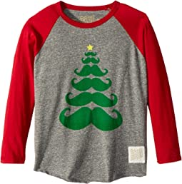 The Original Retro Brand Kids - Baseball Raglan Holiday Mustache Long Sleeve (Little Kids/Big Kids)