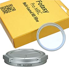 JJC Silver ACLX100 Auto SELF-RETAINING Lens Cap for Panasonic LX100 LX100II Leica D-LUX, Lumix LX100 Auto Lens Cap, LX100 II Auto Lens Cap, Panasonic LX100 Auto Lens Cap, 43mm MRC Nano MC UV Filter