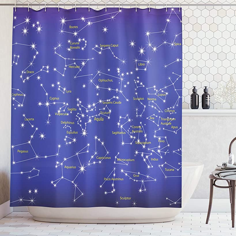 Ambesonne Constellation Shower Curtain, Astronomy Science Names of Stars Zodiac Signs Night Sky, Fabric Bathroom Decor Set with Hooks, 84 inches Extra Long, Violet Yellow