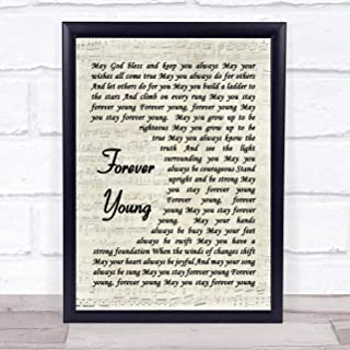 123 BiiUYOO Forever Young Bob Dylan Script Quote Song Lyric Print with Frame 14