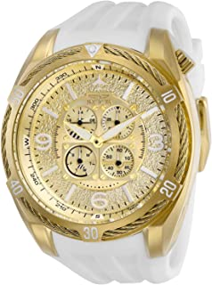 Invicta Men's Aviator Stainless Steel Quartz Watch with Silicone Strap, White, 32 (Model: 28080)