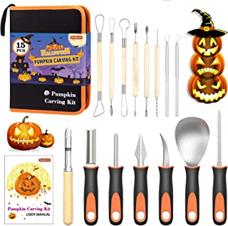 Halloween Pumpkin Carving Kit, Shuttle Art 15 PCS Professional Heavy Duty Stainless Steel Pumpkin Carving Tools with Carry...