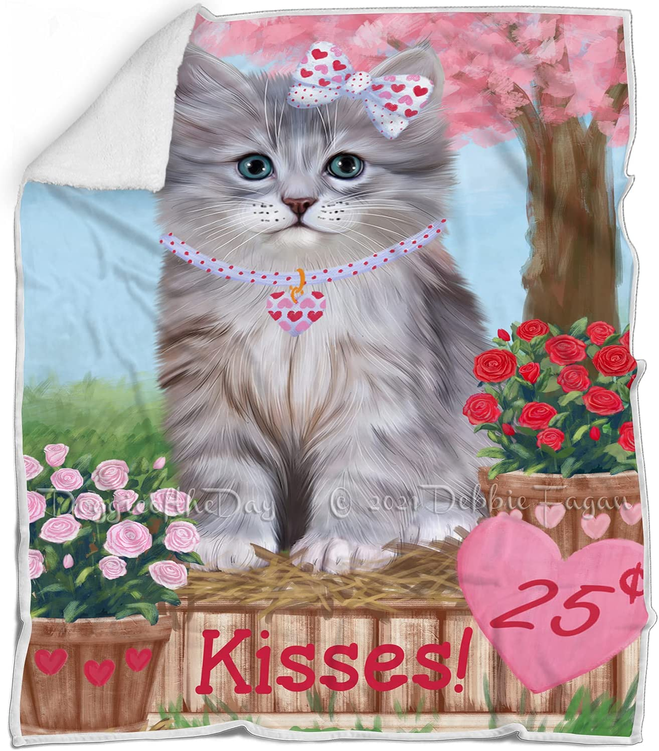 Ranking TOP4 Rosie 25 Cent Kisses Siberian Limited time for free shipping Cat Multicolor Blanket - Wa Fluffy