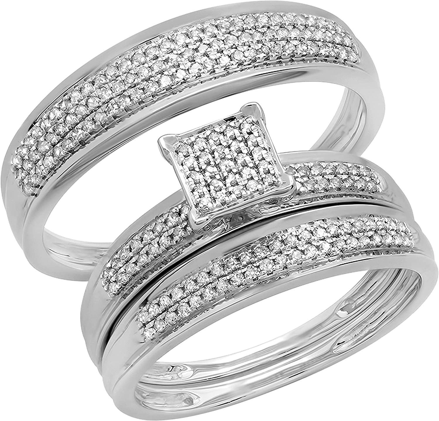 Dazzlingrock Collection 0.50 Carat (ctw) Round White Diamond Mens and Womens Trio set Ring With Wedding Anniversary Band 1/2 CT, 14K Gold