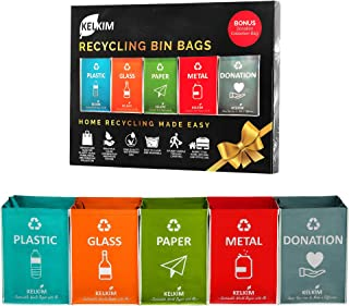 Recycling Bin Bags + Donation Bag for Home Kitchen Office   Portable Indoor Recycle Waste Organizer   Waterproof Garbage Containers   Separate Recyclable Trash Sorting Bin   Big Compartment 5 Bags Set