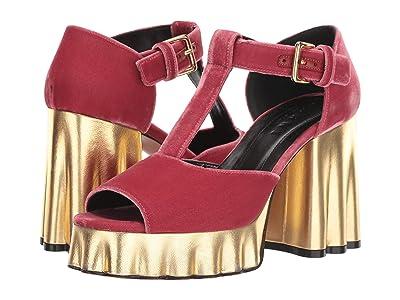 MARNI Velvet Wedge Heeled Sandal (Peach) Women