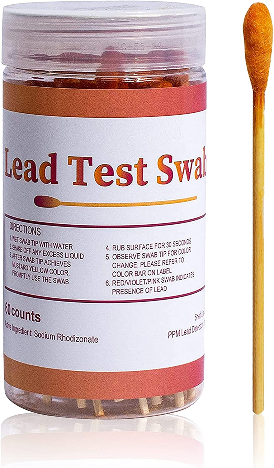 VANSFUL Lead Test Kit 60 Counts Testing Swabs Rapid Test, Results in 30 Seconds, Dip in Water to Use Lead Testing Kits for Home Use, Suitable for All Painted Surfaces,Ceramics, Dishes, Metal, Wood