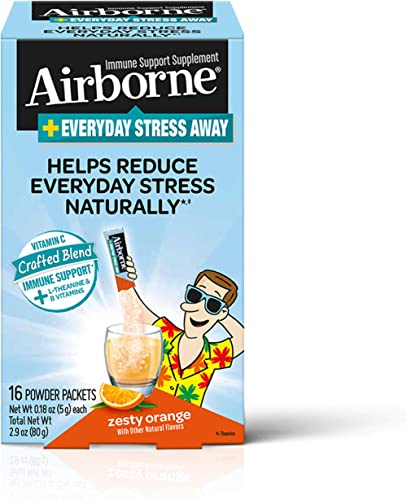 Vitamin C Blend + L-Theanine & B Vitamins Everyday Stress Away - Airborne Zesty Orange Powder Packet,  (16 count in box), Immune Support Supplement That Helps Reduce Everyday Stress Naturally product image