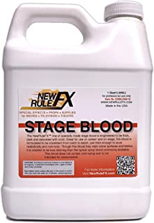 NewRuleFX.com Professional Theatrical & Motion Picture Stage Blood, Wash Out Formula, Deep Red, 1 Quart Jug