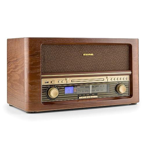 auna Belle Epoque 1906 - Equipo estéreo - Minicadena retro - FM/AM - Pantalla LCD - Reproductor CD - MP3 - USB - Digitalizador - AUX - Mando distancia - Diseño vintage - Madera Marrón