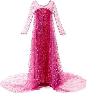 JerrisApparel Girls Princess Costume Birthday Party Halloween Cosplay Dress up (7, Hot Pink)