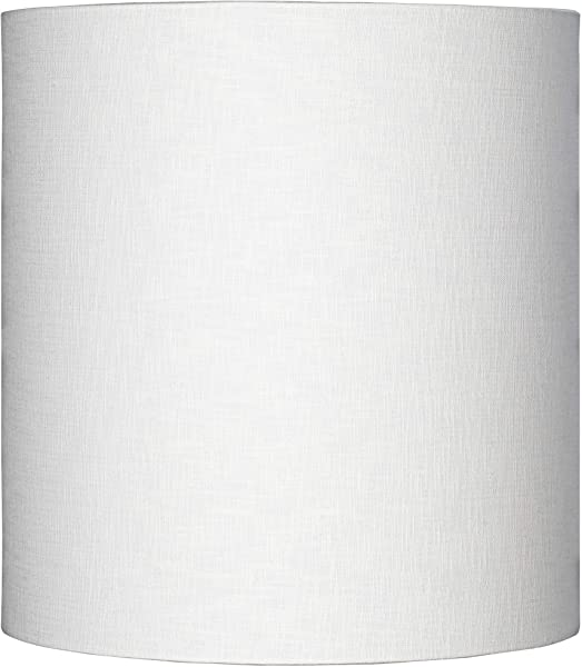 White Tall Linen Drum Shade 14x14x15 Spider Brentwood