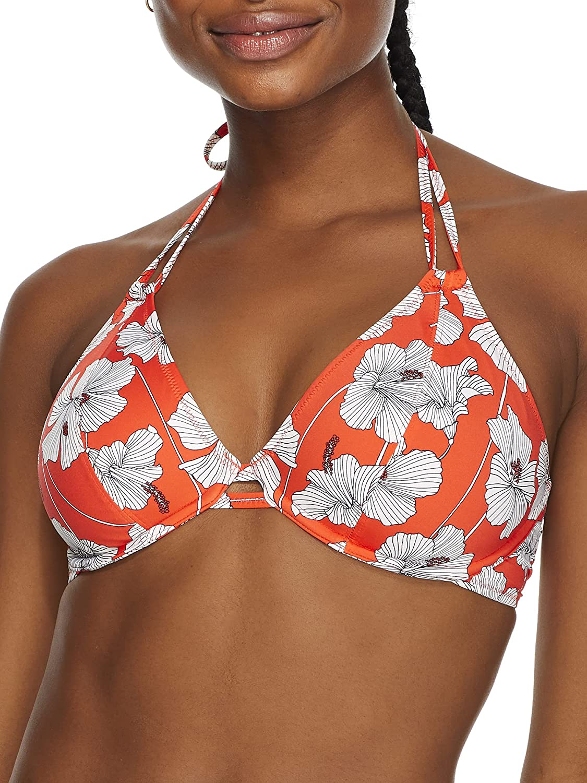 Freya Hibiscus Beach Halter Bikini Top, 32E, Sunset