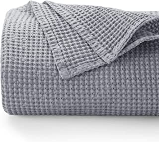Bedsure 100% Cotton Blanket - Bed Blanket with Waffle Pattern for Home Decoration - Perfect for Layering Any Bed for All-Season - King Size (104 x 90 inches), Grey
