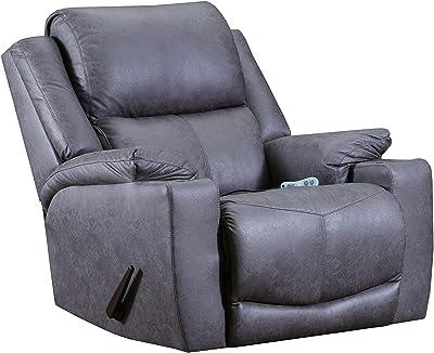 Lane Home Furnishings 4050-191 Desoto Charcoal Rocker Recliner w/Heat & Massage, grey