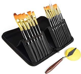 Rhodesy Malerpinsel-Set, 15 verschiedene Formen, mit Palettenmesser und Schwamm, Nylonhaar und ergonomisch rutschfesten, mattschwarzen Griffen mit Stand-Organisationskoffer