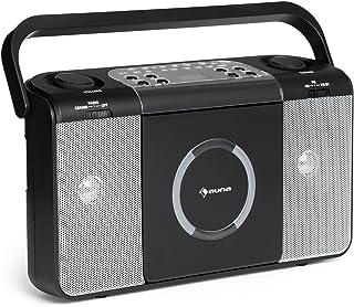 Auna Boomtown • Radio CD • Equipo estéreo • Boombox • Radiograbadora • MP3 • CD • USB • Asa • Radio FM • 2 x 1,5 W de Potencia Media • con Pilas o con Cable ...