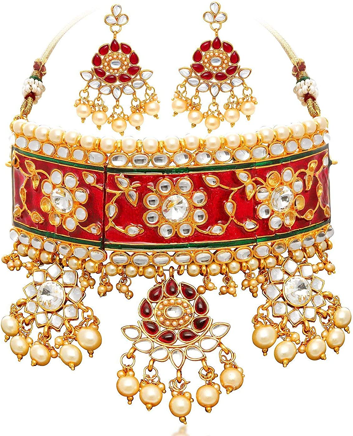 Crunchy Fashion Bollywood Style Traditional Indian Wedding Jewelry padmavati Necklace with Earring Set for Women