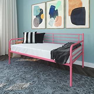 DHP Metal Daybed Frame, Twin Size Furniture, Pink