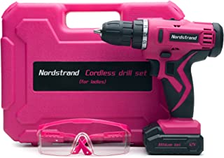Nordstrand Pink Cordless Drill Set - Electric Screwdriver Power Driver Kit for Women - 12V Rechargeable Li-Ion Battery - S...