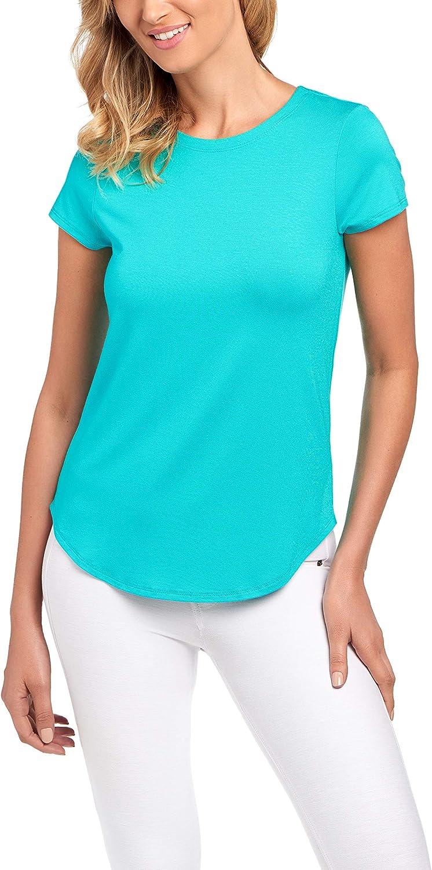 Cupio Favorite Basic – Juliana Crepe Shirttail Hem Cap Sleeve Knit Top