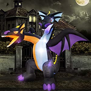 ATDAWN 7 FT Inflatable Halloween Decorations Inflatables Dragon, Two-Headed Blow Up Dragon with Wings for Halloween Yard Decor Indoor Outdoor Yard Lawn Decorations