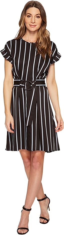 Vince Camuto Stripe Theory Print Belted Dress