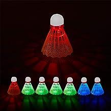 Relaxdays Unisex LED Badminton Shuttle Set van 8, Fluorescerend, Blauw, Rood, Groen, Binnen & Buitenshuis, H x D: 8 x 6,5 ...