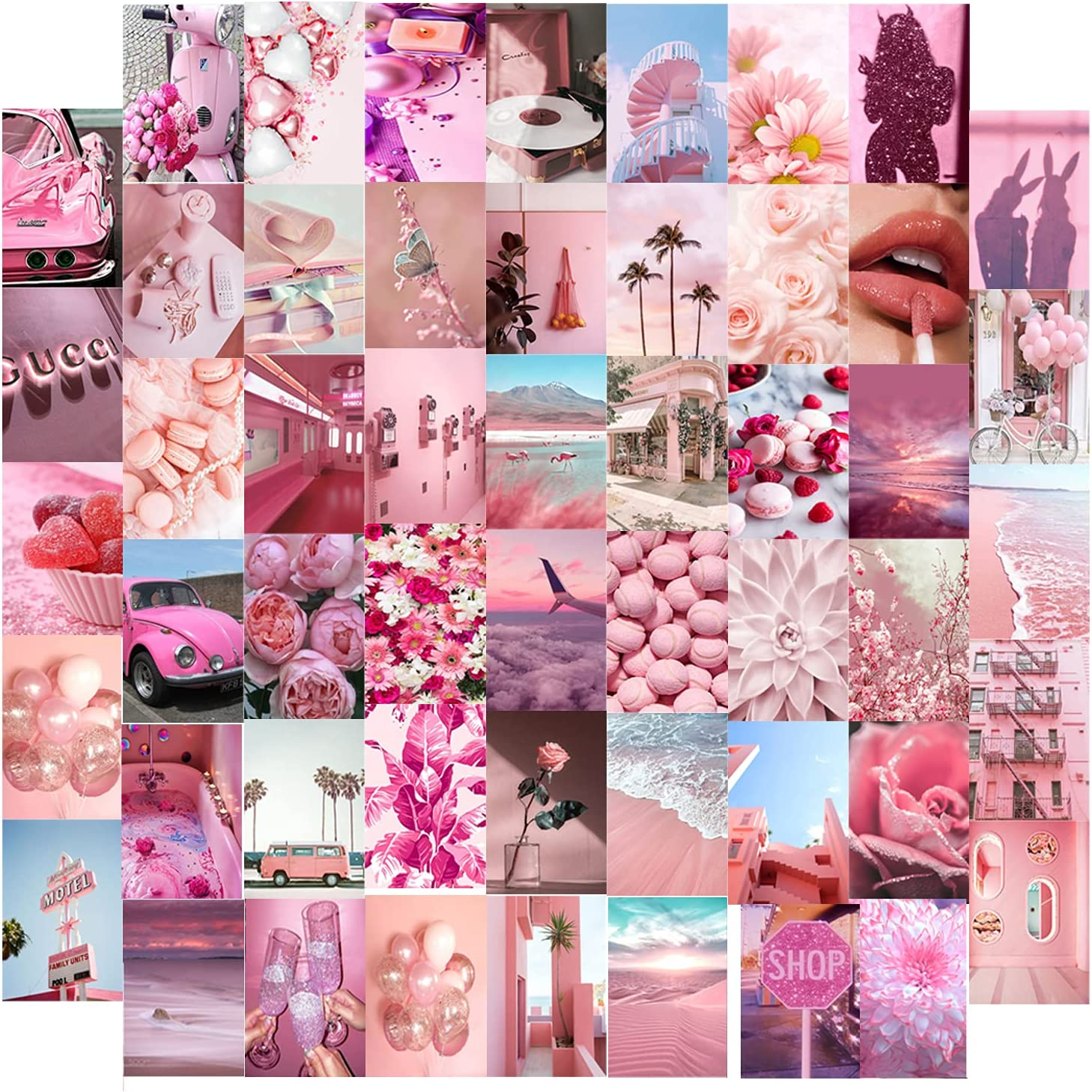 Pink Wall Collage Kit, Aesthetic Pictures Bedroom Decor for Teen Girls, Light Pink Color Dorm Photo Display for Cute Room Decor, Wall Décor (52 PCS 4*6