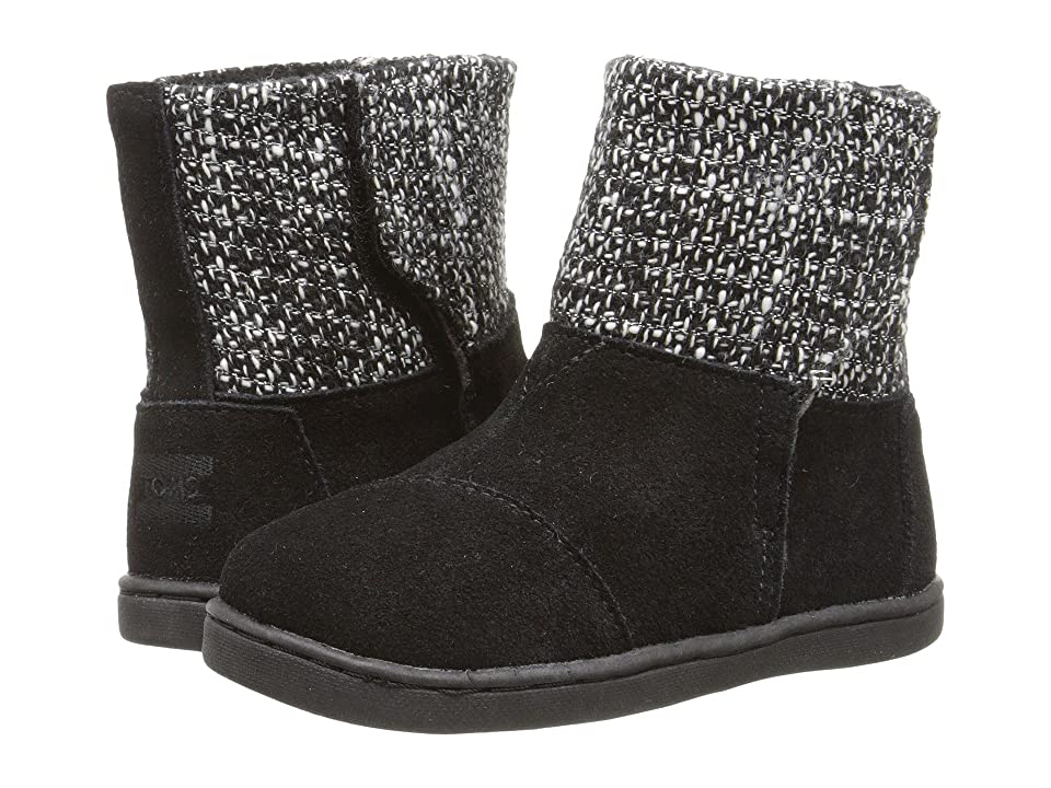 TOMS Kids Nepal Boot (Infant/Toddler/Little Kid) (Black Suede/Metallic Wool) Kids Shoes
